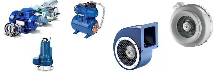 Продажа электродвигателей, насосов, вентиляторов в большом ассортименте